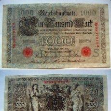 Billetes extranjeros: BILLETE DE ALEMANIA 1000 MARCOS 1910 SELLO ROJO SERIE A CIRCULADO. Lote 58351706