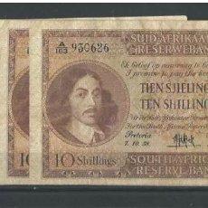 Billetes extranjeros: SOUTH ÁFRICA RESERVE 10 SHILLINGS 1958 MUY RARO REF 6436. Lote 91657609
