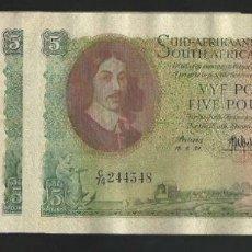 Billetes extranjeros: SOUTH ÁFRICA RESERVE 5 POUNDS 1959 MUY RARO REF 753. Lote 90455433