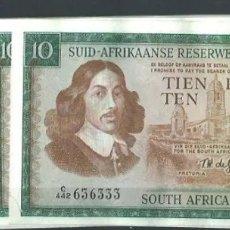 Billetes extranjeros: SOUTH ÁFRICA RESERVE 10 RAND 1961 MUY RARO REF 7438. Lote 90455515
