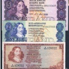 Billetes extranjeros: 3 BILLETES SOUTH ÁFRICA 1,2,5 RAND 1961 / 1977 MUY RAROS REF 642. Lote 90358862