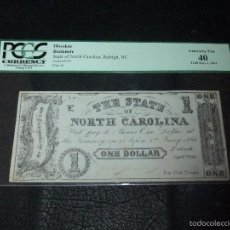 Billetes extranjeros: 1862 GUERRA DE SECESIÓN *1 DOLAR CONFEDERADO CAROLINA DEL NORTE*. Lote 59778664