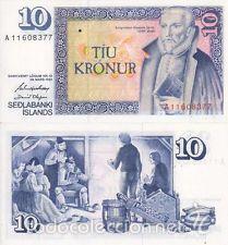 ICELAND 10 KRONER 1961 SIN CIRCULAR PLANCHA DE TACO REF 7646 (Numismática - Notafilia - Billetes Internacionales)