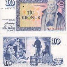 Billetes extranjeros: ICELAND 10 KRONER 1961 SIN CIRCULAR PLANCHA DE TACO REF 7646. Lote 89582848