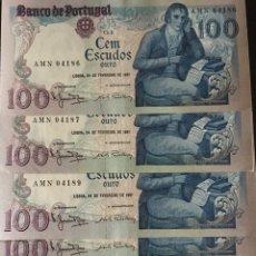 Billetes extranjeros: PORTUGAL 100 ESCUDOS 1981 MUY RAROS REF 853. Lote 59944146