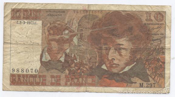 FRANCIA- 10 FRANCOS-1977 (Numismática - Notafilia - Billetes Extranjeros)