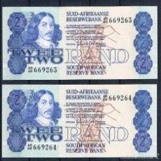 Billetes extranjeros: SUDAFRICA-PAREJA CORRELATIVA DE 2 RAND SC- 1978/1981. Lote 60761103