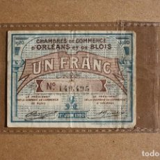 Billetes extranjeros: FRANCIA, 1 FRANCO 1920 / CASA DE COMERCIO DE ORLEANS Y DE BLOIS.. Lote 61775268