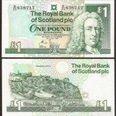 Billetes extranjeros: ESCOCIA. RBS PLC. 1 POUND 24.7.1991. PICK 351 B. S/C.. Lote 295863438