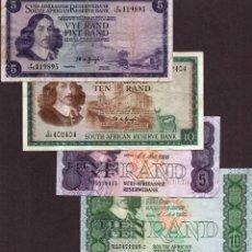Billetes extranjeros: SOUTH ÁFRICA LOTE 4 BILLETES RAND 1961 / 1969 RAROS REF 6437. Lote 97493466