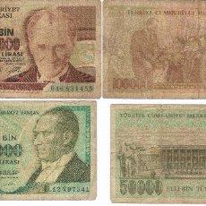 Billetes extranjeros: LOTE 2 BILLETES 50.000 Y 100000 TURKIA 50000 LIRASI TURQUIA. Lote 62418602