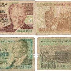 Billetes extranjeros: LOTE 2 BILLETES 50.000 Y 100000 TURKIA 50000 LIRASI 1970 TURQUIA. Lote 62418771