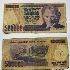 Billetes extranjeros: BILLETE TURQUIA 500000 LIRAS 1970 CIRCULADO. Lote 62421572