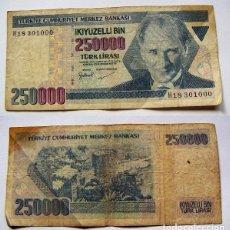Billetes extranjeros: BILLETE TURQUIA 250000 LIRAS 1970 CIRCULADO. Lote 62421596