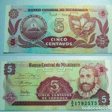 Internationale Banknoten - BILLETE DE NICARAGUA 5 CENTAVOS DE CORDOBA PLANCHA - 63248644