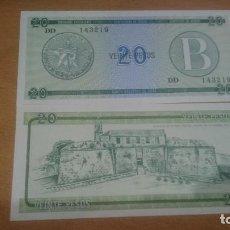 Billetes extranjeros: BILLETE DE CUBA SERIE B 20 PESOS CALIDAD SC AÑO 1985 NICK FX9. Lote 63740115