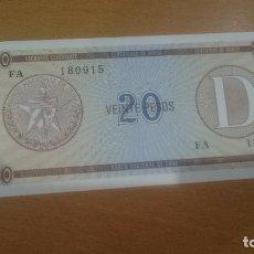 Billetes extranjeros: BILLETE DE CUBA SERIA D SEGUNDA SERIE CALIDAD SC 20 PESO FX36. Lote 63744343
