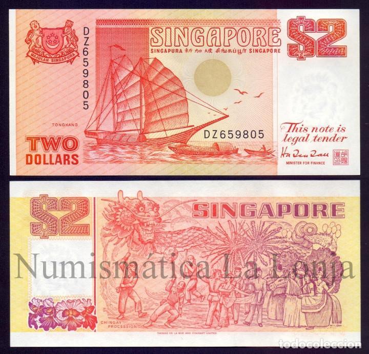 SINGAPUR SINGAPORE 2 DOLLARS TONGKANG 1990 PICK 27 SC UNC (Numismática - Notafilia - Billetes Extranjeros)