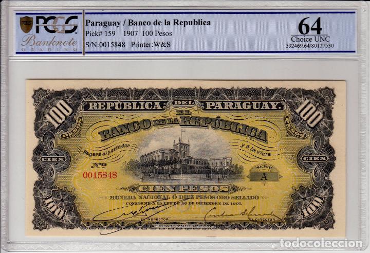 PARAGUAY 100 PESOS 1907 PCGS64 S/C (Numismática - Notafilia - Billetes Extranjeros)
