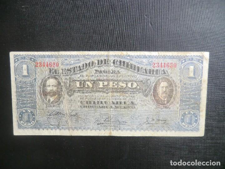 ESTADO CHIHUAHUA - REVOLUCIÓN MEJICO - UN PESO (Numismática - Notafilia - Billetes Extranjeros)