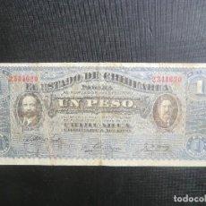 Billetes extranjeros: ESTADO CHIHUAHUA - REVOLUCIÓN MEJICO - UN PESO. Lote 64516307