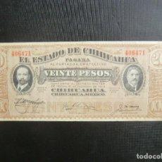 Billetes extranjeros: ESTADO DE CHIHUAHUA - REVOLUCIÓN MEXICO - EXCELENTE ESTADO - 20 PESOS. Lote 64516343