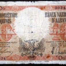 Billetes extranjeros: ALBANIA 1940 ÉPOCA II GUERRA MUNDIAL 10 LEK VER FOTOS . Lote 64658635