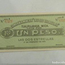 Billetes extranjeros: BILLETE MEXICO 1 PESO COMPAÑIA MINERA LAS DOS ESTRELLAS, SERIA R, SIN CIRCULAR. Lote 64806647
