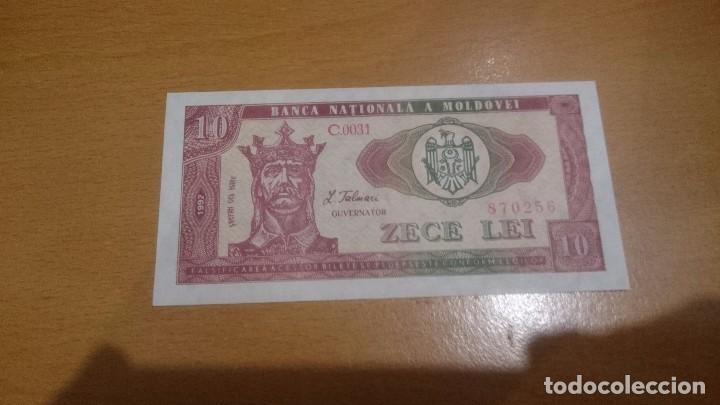 BILLETE DE MOLDAVIA DE 10LEI AÑO 1992 CALIDAD SC NICK 7 (Numismática - Notafilia - Billetes Internacionales)