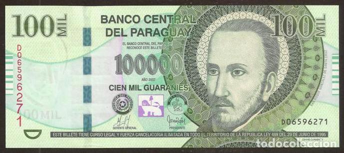 PARAGUAY. 100000 GUARANIES 2007. S/C. PICK 233A. (Numismática - Notafilia - Billetes Internacionales)