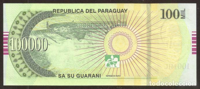 Billetes extranjeros: PARAGUAY. 100000 guaranies 2007. S/C. Pick 233a. - Foto 2 - 64960817