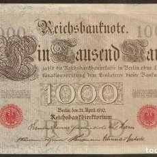 Billetes extranjeros: ALEMANIA. BONITO 1000 MARK 21.4.1910. PICK 44 A. Nº DE SERIE EN ROJO. 6 DIGITOS.. Lote 65655322