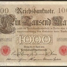 Billetes extranjeros: ALEMANIA. BONITO 1000 MARK 21.4.1910. PICK 44 A. Nº DE SERIE EN ROJO. 6 DIGITOS.. Lote 65655370
