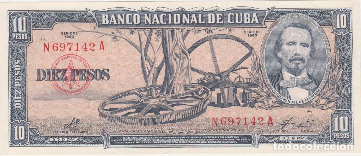 BILLETES - CUBA - 10 PESOS 1960 - SERIE N 697127 A - PICK-88C (SC-) (Numismática - Notafilia - Billetes Extranjeros)