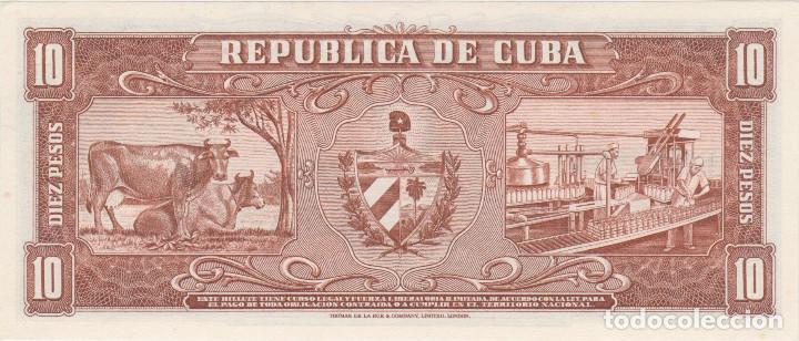 Billetes extranjeros: billetes - cuba - 10 pesos 1960 - serie n 697127 a - pick-88c (SC-) - Foto 2 - 176148680