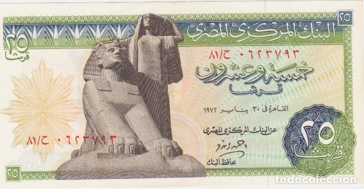 BILLETES EGIPTO - 25 PIASTRES 1972 - SERIE Nº 623791 - PICK-42 (Numismática - Notafilia - Billetes Extranjeros)
