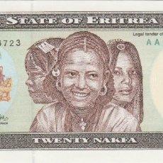 Billetes extranjeros: BILLETES - ERITREA - 20 NAKFA 24-5-1997 - SERIE AA 0006569 - PICK-4 (SC). Lote 128321523