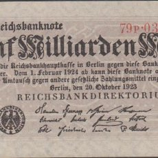 Billetes extranjeros: BILLETES - GERMANY-ALEMANIA 5 MILLIARDEN MARK 1923 - PICK-123A (SC-). Lote 66293662