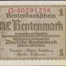 Notas Internacionais: BILLETES - GERMANY-ALEMANIA - 1 RENTENMARK 1937 - SERIE Q 40291240 - PICK-173B (SC). Lote 207276928