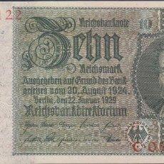 Billetes extranjeros: BILLETES - GERMANY-ALEMANIA - 10 REICHSMARK 1929 - SERIE C - 180B (SC). Lote 66295274