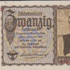 Billetes extranjeros: BILLETES - GERMANY-ALEMANIA - 20 REICHSMARK 1939 - SERIE I - PICK-185 (SC-). Lote 66296350