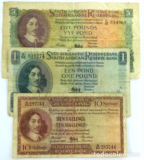 LOTE 3 BILLETES SOUTH AFRICA 5 ,1,POUND 10 SHILLING BANKNOTE REF NED (Numismática - Notafilia - Billetes Internacionales)