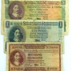 Billetes extranjeros: LOTE 3 BILLETES SOUTH AFRICA 5 ,1,POUND 10 SHILLING BANKNOTE REF NED. Lote 105030155