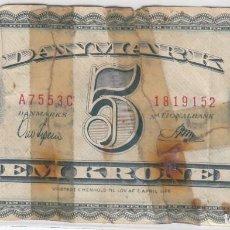 Billetes extranjeros: 0281 BILLETE DANMARK USADO . Lote 66862918