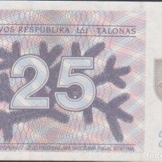 Billetes extranjeros: BILLETES - LITHUANIA - 25 TALONAS 1991 - SERIE BB 563894 - PICK-36B (SC). Lote 219438622