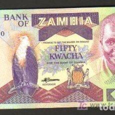 Billetes extranjeros: ZAMBIA - 50 KWACHA 1986-88 SC P.28 UNC. Lote 67187201