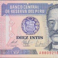 Billetes extranjeros: BILLETES - PERU - 10 INTIS 1987 - SERIE A 9484992 Q - PICK-129 (SC). Lote 147108456