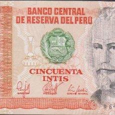 Billetes extranjeros: BILLETES - PERU - 50 INTIS 1987 - SERIE A 6426705 P - PICK-131B (SC). Lote 147108433