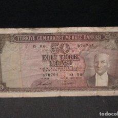 Billetes extranjeros: 50 LIRAS 1970 TURKIA FORMATO DE BILLETE ESCASO. Lote 67283409