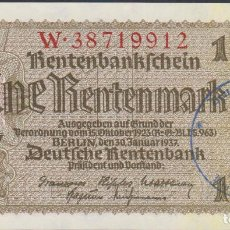 Billetes extranjeros: BILLETES - GERMANY-ALEMANIA - 1 RENTENMARK 1937 - SERIE W - PICK-173B SELLADO (SC). Lote 67554829